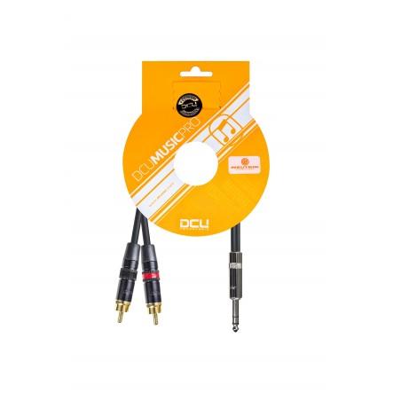 CONEX. AUDIO PRO 6.3 JCK M ST.- 2x RCA M REAN 1m