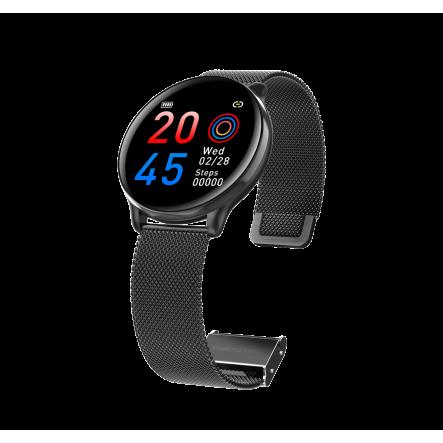 Smartwatch Casual 2 corretges metall negre / silicona rosa