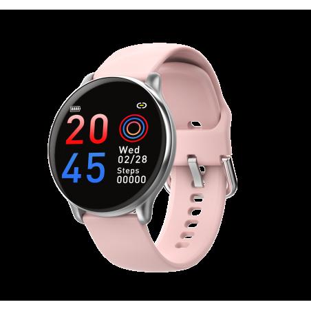 Smartwatch Casual 2 correas metal negro / silicona rosa