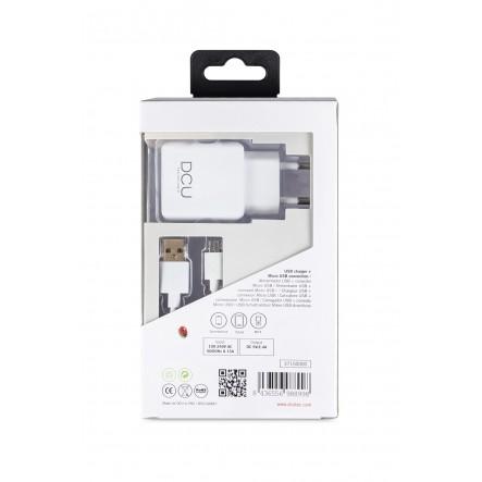 CARGADOR USB 5V 2.4A + CABLE MICRO USB 1M
