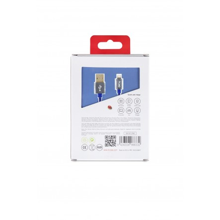 Cable lightning iPhone 5,6 y 7 a USB azul mar alumino 2m