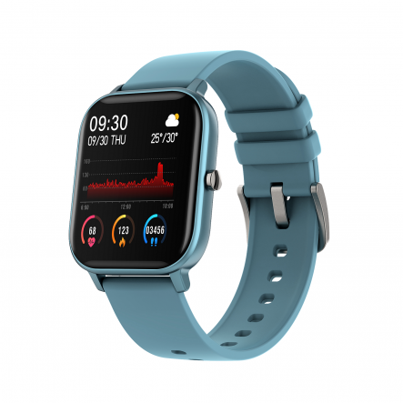 Smartwatch Curved Glass Blau