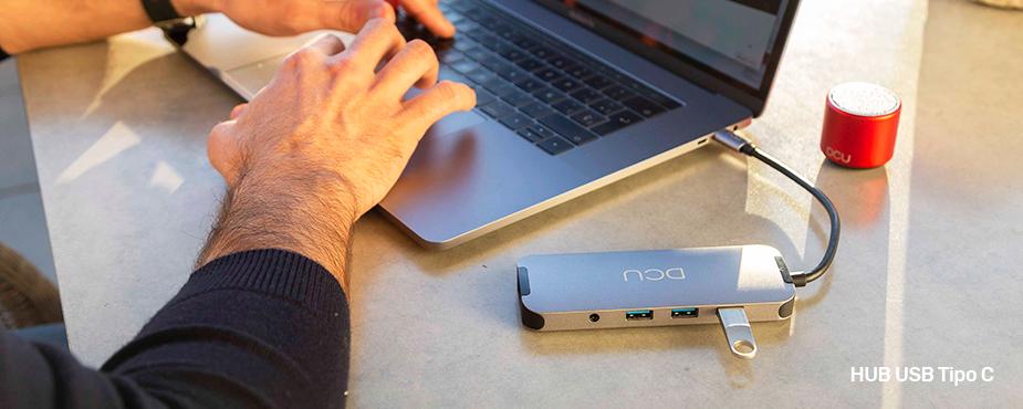 HUB USB Tipo C a HDMI + RJ45 + 3xUSB 3.0 + lector tarjetas + jack + PD - DCU
