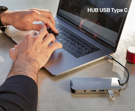 USB HUB Type C to HDMI + RJ45 + 3xUSB 3.0 + card reader + jack + PD - DCU